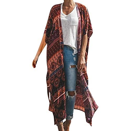 Glaiidy Body Mujer Kimono Floral Cárdigan Beach Blusa De Gasa Tops Ropa de Fiesta Bikini Cover Up Retro Boho Impreso Tops con Cinturón Chaquetas Blusas Ropa De Playa Vestido De Mujer