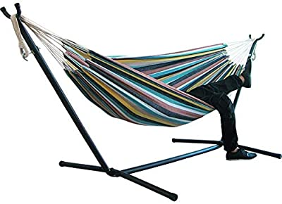 Iron Frame Camping Hammock,MKLEKYY Patio Yard Beach Outdoor Double Hammock,Wide Solid Hammock,with Space Saving Steel Stand,up to 450 Pounds,Includes Portable Carrying Case,Desert Stripe (C)
