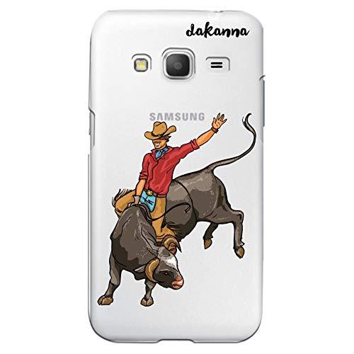 dakanna Case Hülle für Samsung Galaxy Core Prime | Wilder Bull | Silikonhülle Transparenter Hintergrund