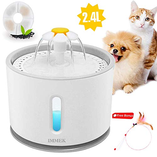 IMMEK Fountain for Dogs Cats, 2.4L Silent Water Fountain for Pets with LED Light, Portable Flower Style Drinker Pets for Dogs and Small Animals, 1pcs Feathered Cat Stick