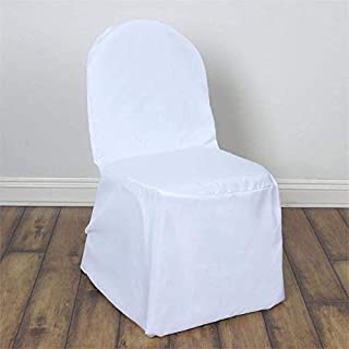 Efavormart 50pcs Round Top White Polyester Banquet Chair Covers Linen Dinning Chair slipcover for Wedding Party Event Catering