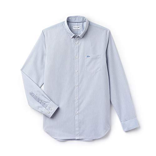 Lacoste hemd lange mouwen heren gestreept blauw