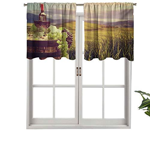 Hiiiman - Tende per tende da finestra, motivo paesaggio toscano, paesaggio rurale, vigna, autunno raccolto, uva, bevande, 106,7 x 45,7 cm, per finestra da cucina