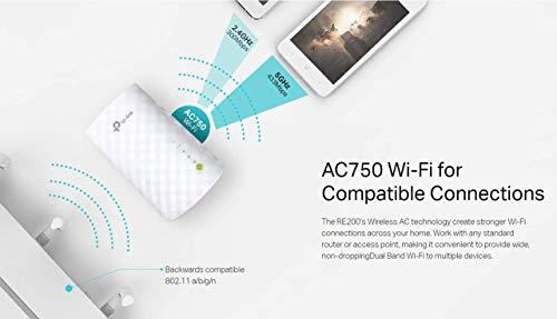 TP-LINK AC750 - Repetidor de Red (10/100Base-T(X), IEEE 802.11ac, IEEE 802.11b, IEEE 802.11g, IEEE 802.11n, 802.11b, 802.11g, 802.11n, 3,5W, LAN (RJ-45), Color Blanco)