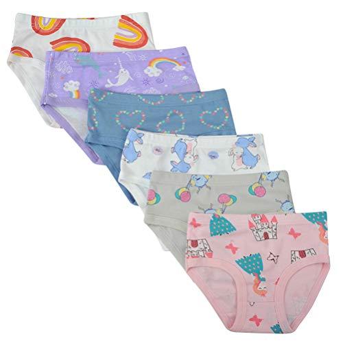 Kidear Kidear Unterwäsche für Kinder, weiche Baumwolle, für Mädchen, verschiedene Muster, 6er-Packung Gr. 4-5 Jahre/Etikettgröße- 120, Stil 8