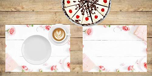 Tischset I Platzset - Blumen - Rosen auf weißem Holztisch - 12 Stück aus hochwertigem Papier in Aufbewahrungsmappe - Die besondere Tischdekoration für Frühling und Sommer