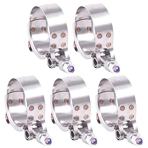 Hilitchi 5Pcs Stainless Steel T-Bolt Clamps with Rounded Band Edges Heavy Duty Turbo Intake Intercooler Clamp (38-43MM) for 1 3/16 Inch