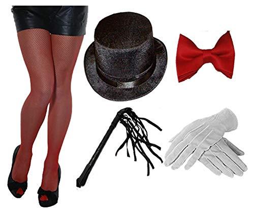 Style Wise Fashion Damen Zirkus Ringmaster Kostüm-Zubehör-Set Fliege Hut Handschuhe Strumpfhose Peitsche Gr. One size, Ringmaster Accessory Kit