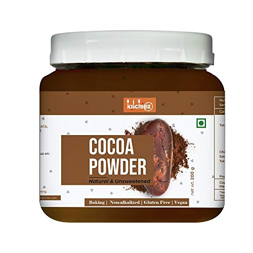 Kitchiez Natural Cocoa Powder, 200g [Made from Ghana Cacao Beans, Unsweetened, Non-alkalised ]