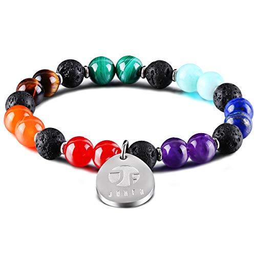 JOXFA Naturstein Perlen 7 Chakra Armband Männer Frauen 8mm Edelstein Lavastein Aromaarmband Aromatherapie Ätherisches Öl Diffusor Armbänder Yoga Armband für Damen und Herren