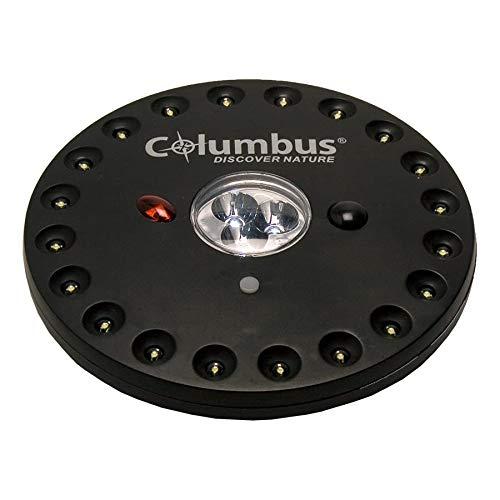 COLUMBUS Linterna CL 1 | Potente Lámpara de Camping LED con Mando a Distancia. Un Foco para el Techo de tu Tienda de Campaña con 23 LED, 3 Modos de Iluminación y 30 h de Autonomía - ABS Negro