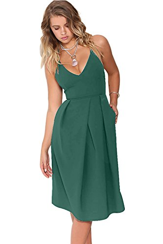 Eliacher Women's Deep V Neck Adjustable Spaghetti Straps Summer Dress Sleeveless Sexy Backless Party Dresses with Pocket (XS, Green Blue)