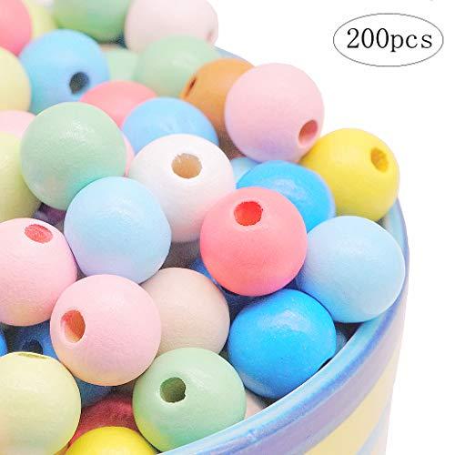Feelairy 200 STK Bunte Holzperlen, 12 mm Holzkugeln Pastell Runde Bastelnperlen zum Auffädeln Holz Perlen Gemischte Farbe mit Loch für DIY Armbänder Schmuck Handwerk