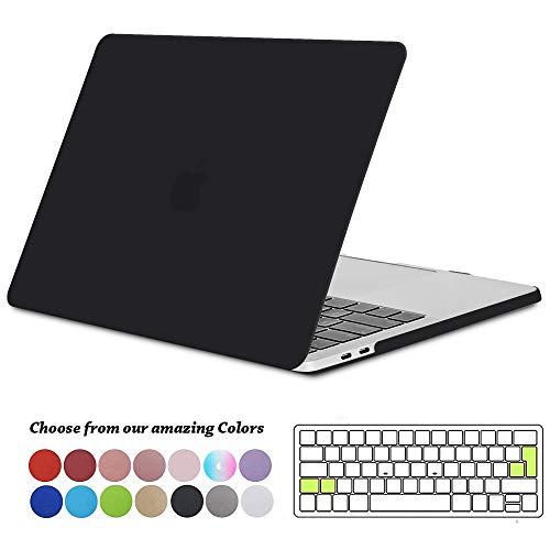 Funda MacBook Pro 13 2016/ 2017/ 2018/ 2019, TECOOL Plástico Dura Case Carcasa con Tapa del Teclado para MacBook Pro 13.3 Pulgadas con / sin Touch Bar (Modelo: A1706 A1708 A1989 A2159) -Negro