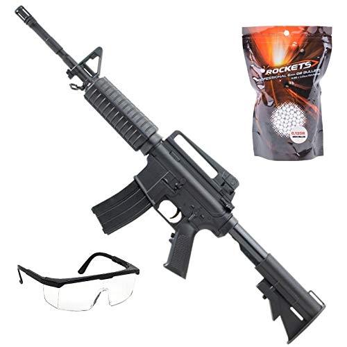 PACK Fucile Airsoft Colt M4A1 Saigo 00040 Electric/Semi e Full Auto./Materiale: ABS/Potenza 0,5 Joule/Fornito con Accessori