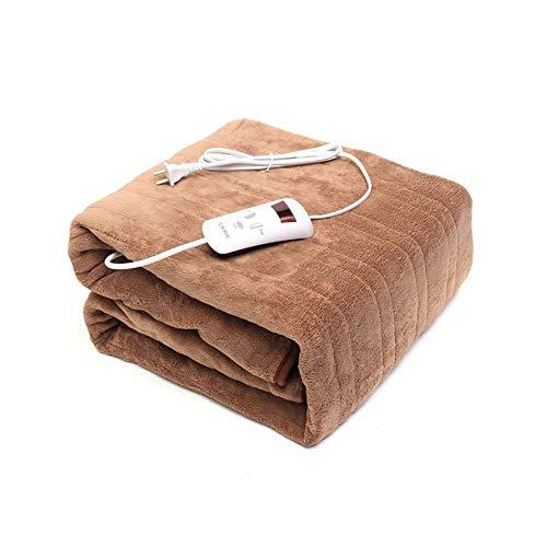 FACAI Waterproof Heating Carpet, Electric Blanket Mat 220v Auto Electric Heated Blanket Mat 4 Gears Timing Electric Mattress,Brown-160x130cm