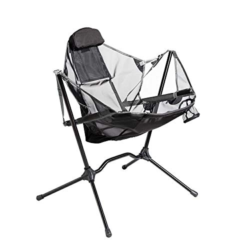 Portable Heavy Duty Outdoor Folding Camping Chair for Adults Kids,Aluminum Alloy luxury Camping Chair Backrest Folding Swing Chair Recliner Chair for Camping,Lawn,Beach,Picnic,Travel,Stargaze (gray)