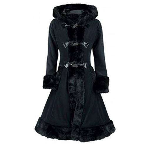 FNKDOR Manteau à Capuche Femmes Vintage Punk Gothique Noble Manteaux en Laine Artificielle à Manches Longue avec Poche Hiver Chaud Trench Coat (Noir,M=FR(36))