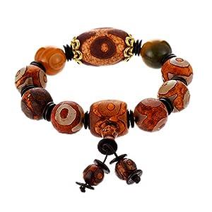 Prime Fengshui Schützendes natürliches tibetisches Armband mit 3 Augen Dzi und gelben Perlen, Amulett-Armreif, zieht positive Energie und Glück an.