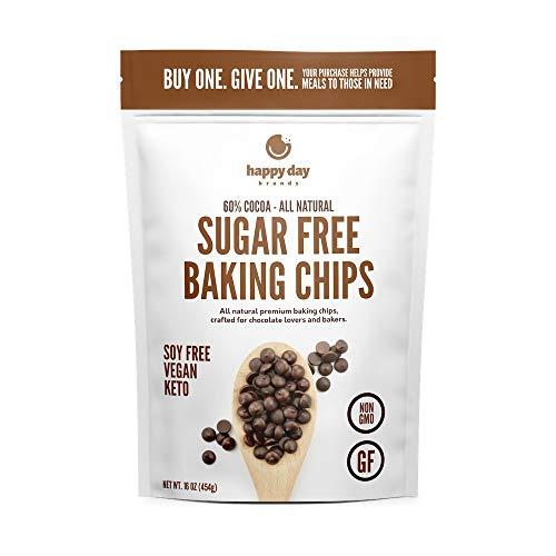 Happy Day Brands Dark Chocolate Sugar Free Baking Chips, 16oz Bag