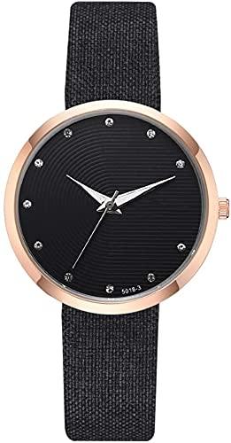 JZDH Mano Reloj Relojes for Mujer Relojes de Pulsera Unisex Correa de Cuero Reloj Rhinestone Decorado Clásico Decorative Watch Men's Ladies Watch Gift Black Relojes Decorativos Casuales