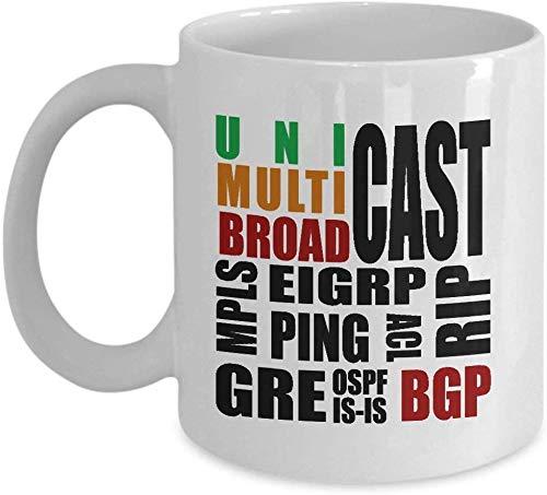 Kaffeetasse 11 Unzen Keramik Weiß Kaffeetasse Network Engineer Lustige Router Technologie Name Mpls Bgp Ospf Eigrp Acl ist Rip Unicast Broadcast Multicast Network Engineer