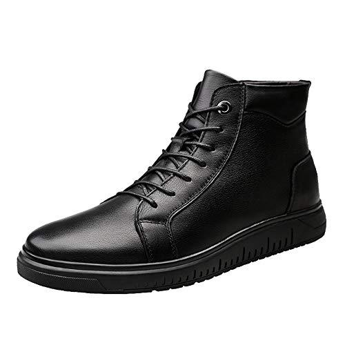 Hilotu Men's Winter Warm Ankle Boots, Durable Trend Soft Velvet Formal Shoes (Conventional Optional) (Color : Black, Size : 6.5 D(M) US)