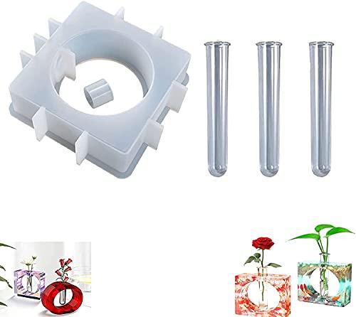 Fashion Vase Silicone Mold, Plant Propagation Station Mold, Test Tube Vase Silicone Bracket Mold, Epoxy Vase Silicone Mold (square mold)