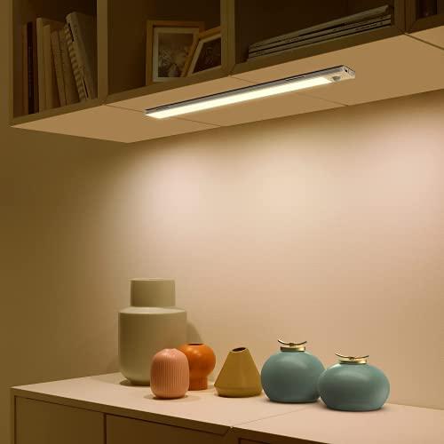 SIBI Motion Sensor LED Light, USB Rechargeable Under Cabinet Light, Ultra-Thin Design, Stick On Anywhere for Wardrobe, Closet, Stair, Under Cupboard Lighting, Warm White 3000K, 1 Pack