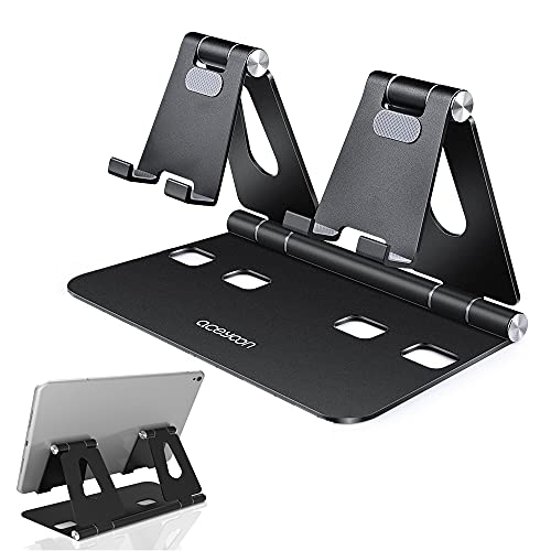 aceyoon Supporto Tablet Regolabile, Porta Tablet con Silicone Antiscivolo Tavolo Supporto Pieghevole Universale Stand in Alluminio Dock da Tavolo per Galaxy, Nexus, iPad, Altri 4-13inch Tablet