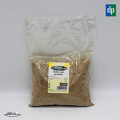 1kg Weißer Pfeffer, gemahlen, fein, Pulver, würzig & aromatisch