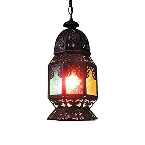 OUPPENG moderna de estilo europeo Colgante de la lámpara de pared retro, el sudeste de Asia pasillo del pabellón bar salón lámparas y linternas de hierro hueco de la lámpara, cadena colgante Personali