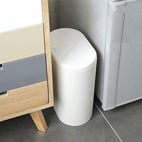 Kunststoff Mülleimer Schmaler Küchenmülleimer WC Push Mülleimer Bad Mülleimer Mülleimer Mülleimer Weiß