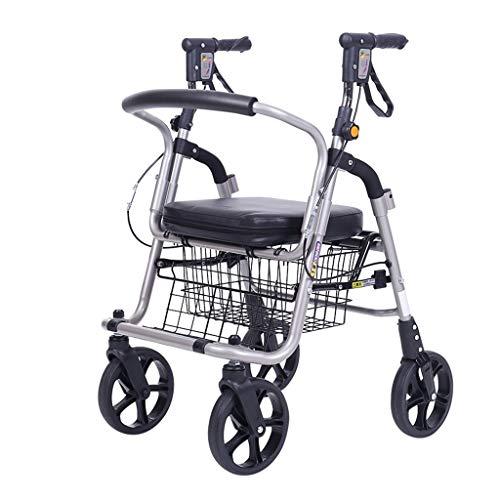 Gxy Winkelwagen aluminium legering oude man push winkelwagen walker rollator vier wielen kan zitten opvouwbare hoogte verstelbare lichtgewicht winkelwagen