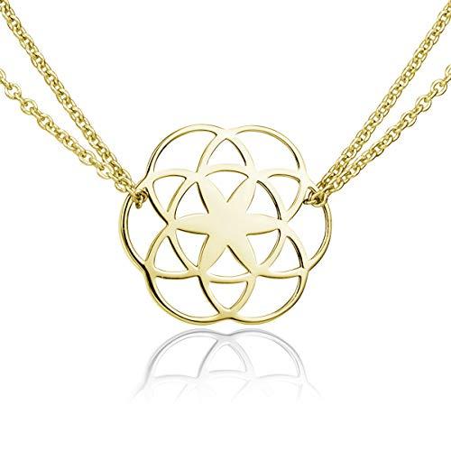 MATERIA Lebensblume Halskette Damen gold - 925 Silber Kette Goldkette Blume des Lebens Modeschmuck vergoldet KA-450-Gold