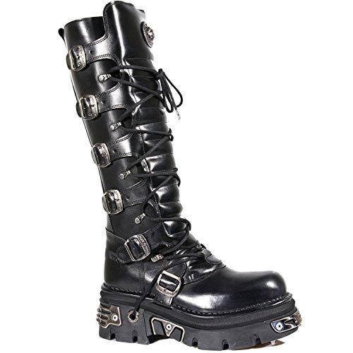 New Rock Rocker Damen Newrock 272 S1 Schwarz Motorradfahrer Biker-Unisex-Stiefel metallischer Reaktor Goth Emo Punk Biker Unisex Boots (5 UK / 38 EU)