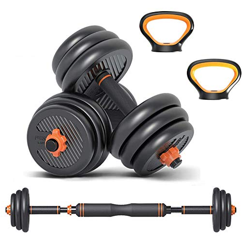 Wind Greeting 6 in 1 Dumbbell &Kettlebell & Barbell Set,20kg Adjustable Dumbells Weights Set, Four Fitness Modes Perfect for Home Gym Exercise and Strength Training