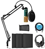 MXL V67G Large Capsule Condenser Microphone for Vocals and Acoustic Guitars Bundle with Blucoil 4x 12' Acoustic Wedges, 10-FT Balanced XLR Cable, Boom Arm Plus Pop Filter, and Samson SR350 Headphones