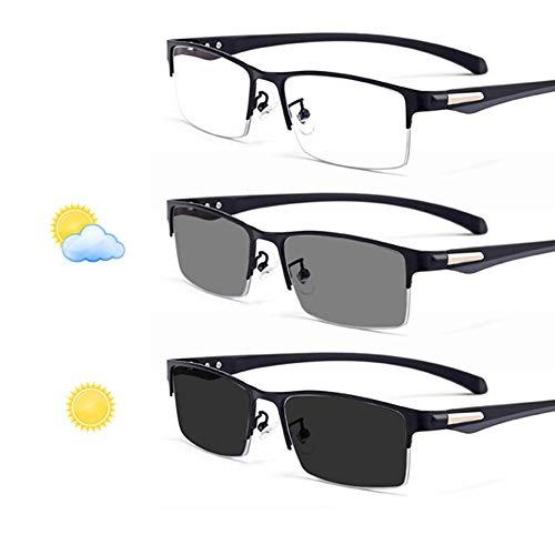 YIRC Progressive Lesebrille Bifokal, Selbsttönende Multifokale Sonnenbrille, Photochrome Herren Halbbrille Anti-Müdigkeit +2.50