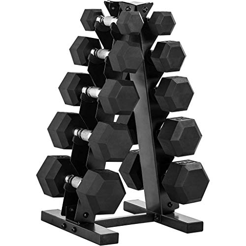 Epic Fitness 150-Pound Hex Dumbbell Set with Heavy Duty A-Frame Rack