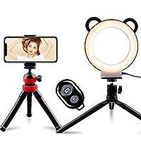 ACMETOP LEDリングライト 自撮りリングライト スマホライト 3色モード 10段階調光 高輝度LED 6インチ 可愛い 撮影照明用ライト Bluetoothリモコン付き 卓上スタンド タコ三脚スタンド USB卓上ライト 生放送/Youtubeビデオ/自撮り写真/美容化粧 ビデオカメラ撮影用セット