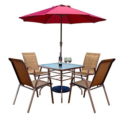 Combinación de mesa y silla de jardín muebles de exterior de ocio mesa y silla de comedor mesa de hierro forjado y silla de ocio cubierta con sombrilla cuatro estaciones utilizable fácil limpiar