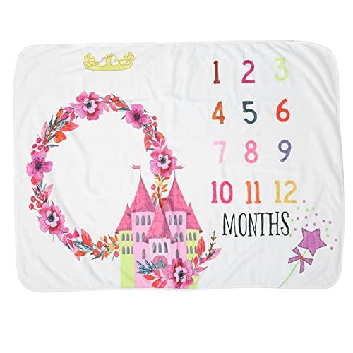 Manta mensual de hito para bebé, unisex con patrón de castillo, manta de hito mensual para bebé, franela para niño, para fondo fotográfico, mantas para bebé de 0 a 12 meses de edad