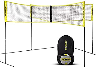 CROSSNET Four Square Volleyball Net & Game Set - Volleyball Set for Backyards - Yard Games for Kids and Adults - CROSSNET Game Four Square Volleyball - Includes Poles, Carrying Backpack & Ball