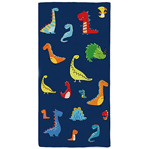 onetoze Toalla de Playa Dinosaurios Multicolores Microfibra Toallas Piscina Toalla Infantil Seque Rápidamente Absorbente Toallas Ducha Acampada Viaje Regalos Personalizados 75x150cm, Azul Marino