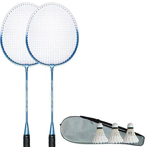 Student badmintonracket duurzaam en duurzaam kinderen badmintonracket thuis volwassen pak- mooie blauwe 2 stokken + 3 balls_660mm