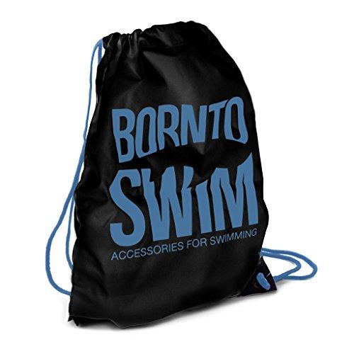 BornToSwim Kordelzug Wasserdicht Rucksack Schwimmbeutel Hai Motive, Schwarz mit blauem Born to Swim Logo, 35 x 45 cm (11 Liters)