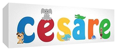 Little Helper LHV-CESARE-2159-15IT Tela per Nursery con Pannello Frontale, Disegno Personalizzabile con Nome da Ragazzi Cesare, Multicolore, 21 x 59 x 4 cm