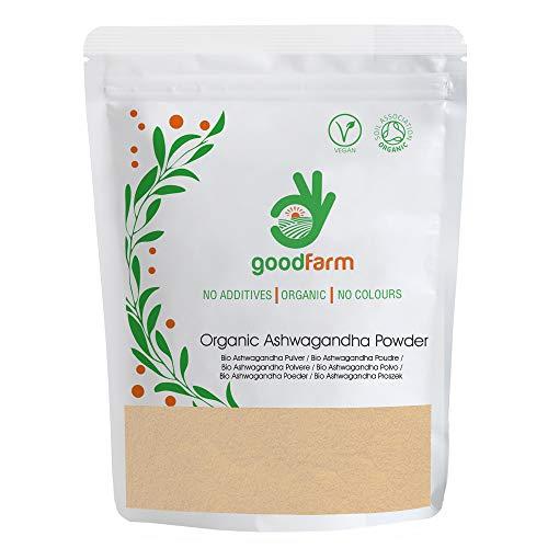 GoodFarm Bio Ashwagandha Pulver 500g - Premium Qualität, zertifizierte Bio | Superfood | Adaptogen | Vegan | Ayurveda