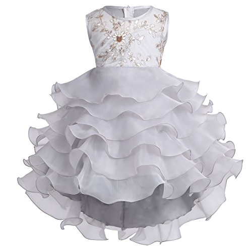 Freebily Girls Cupcake Dress Wedding Pageant Communion Baptism Party Flower Girl Dress Gray 3-4